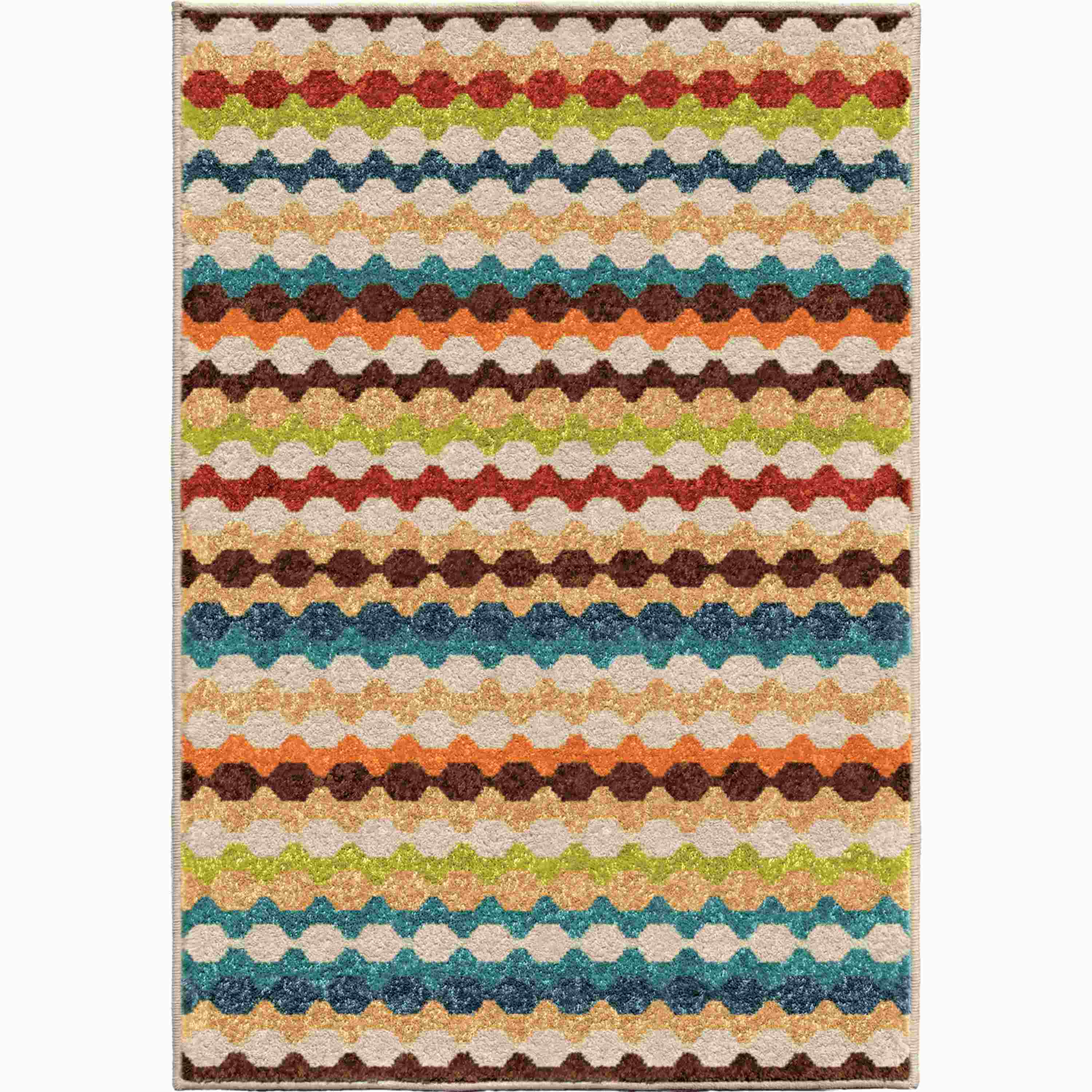 Orian Rugs Indoor/Outdoor Stripes Nik Nak Gemstone Accent Rug