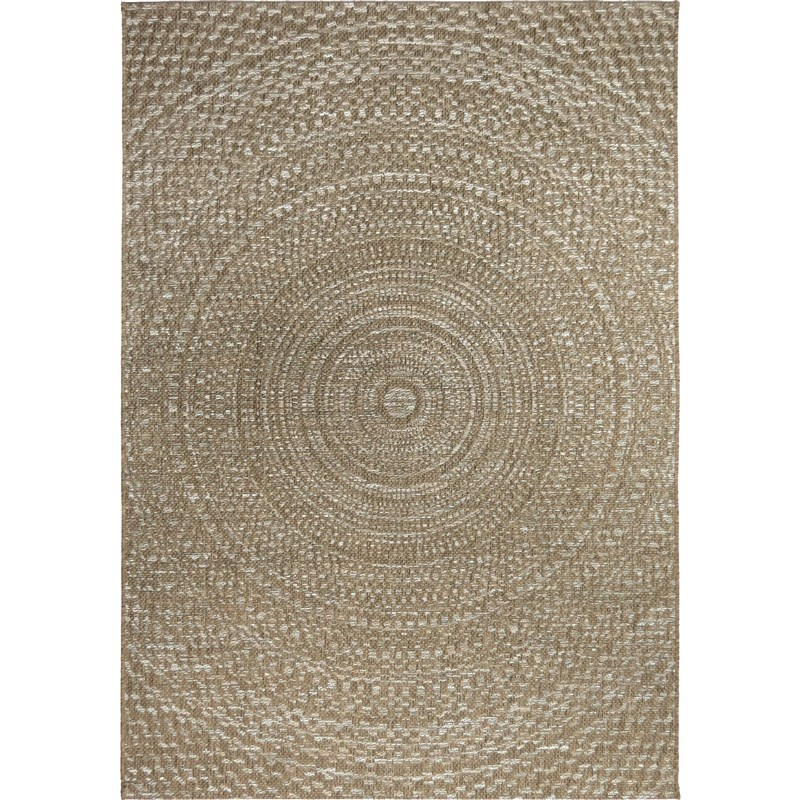 Orian Rugs Indoor/outdoor Circles Cerulean Gray/ Brown Area Rug 7'7 X 10'10