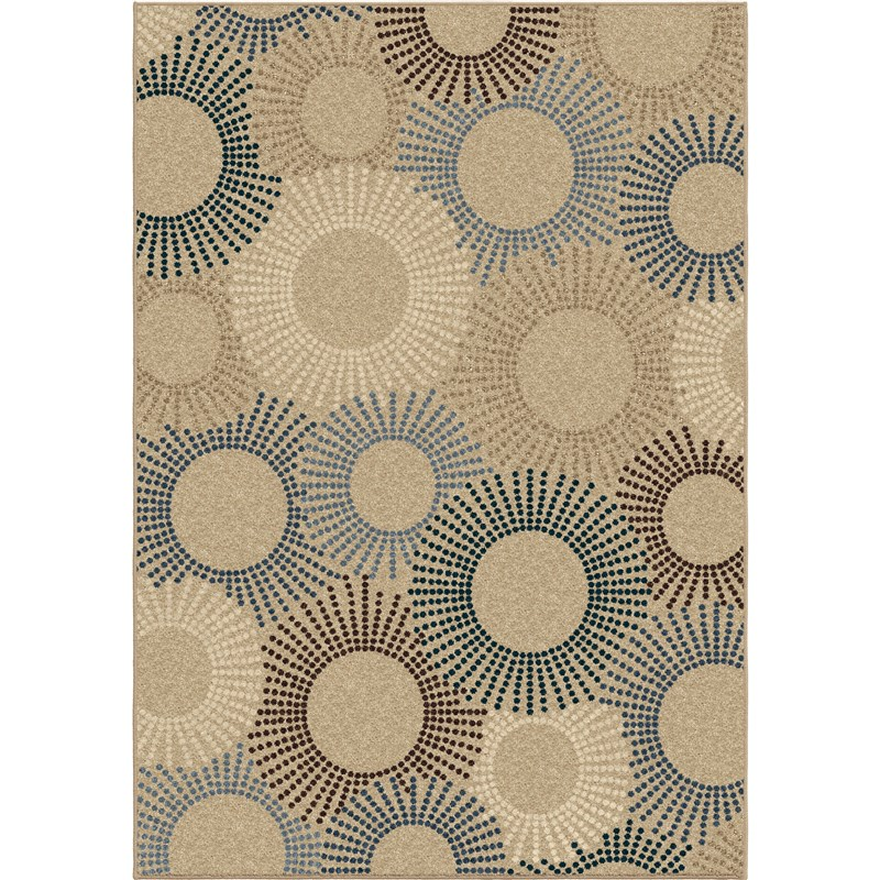 Orian Rugs Indoor/Outdoor Circles Ray of Light Beige Area Rug (7'8