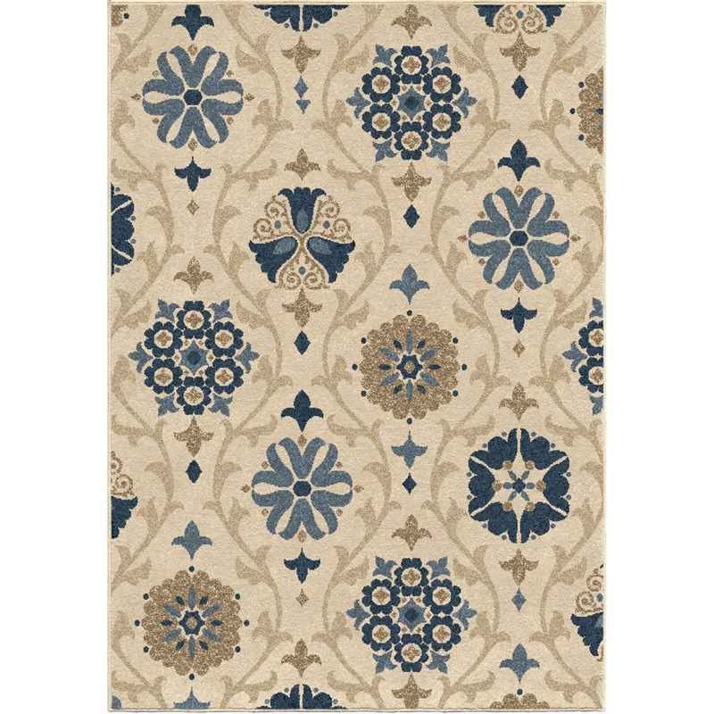 Orian Rugs Indoor/outdoor Scroll Floral Chico Ivory Area Rug 5'2 X 7'6