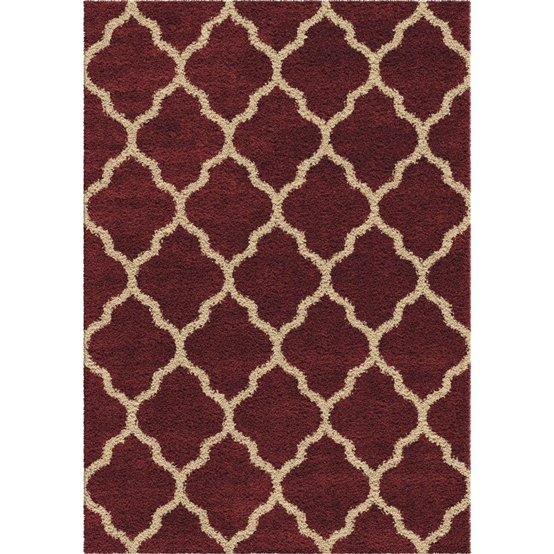 Orian Rugs Plush Trellis Malton Red Area Rug 7'10 X 10'10