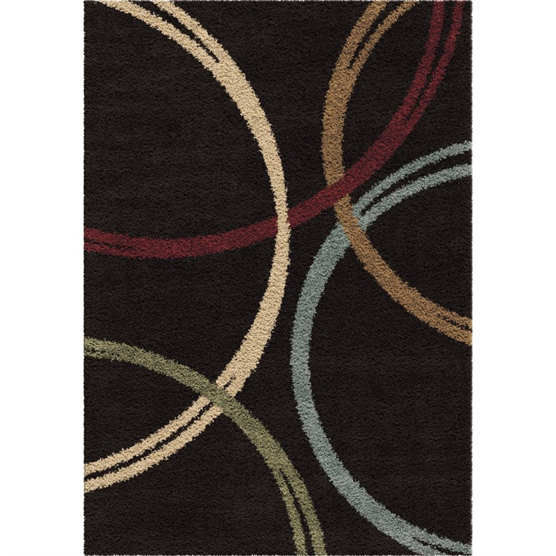 Orian Rugs Plush Rings Woodford Black Area Rug 7'10 X 10'10