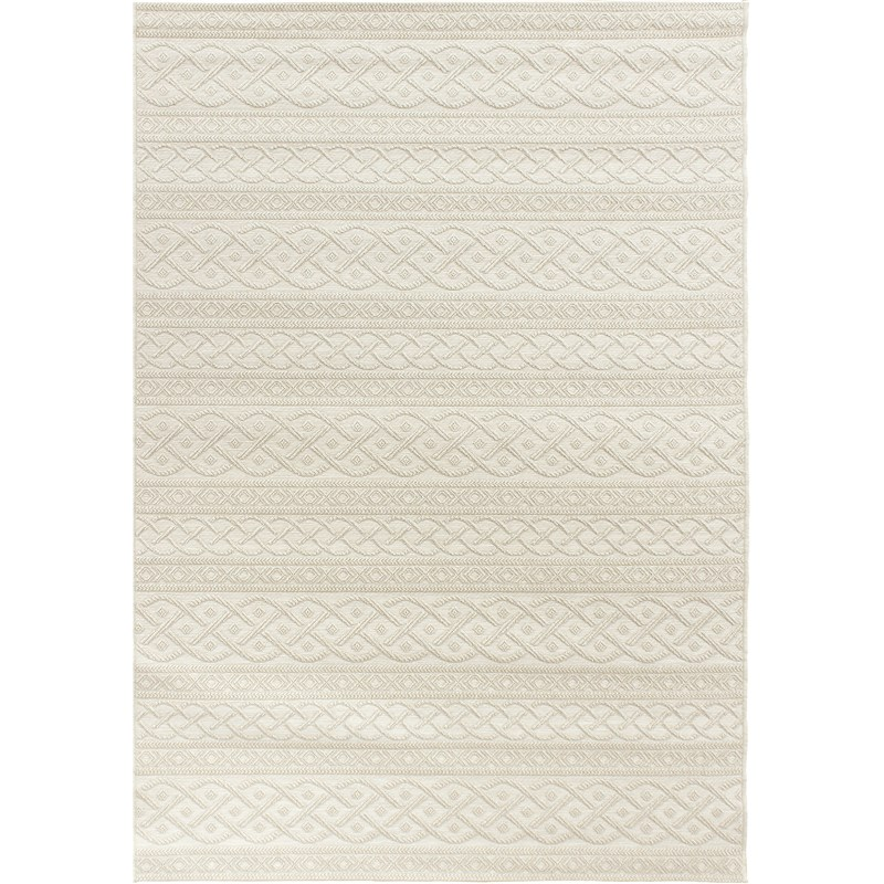 Orian Rugs Indoor/ Outdoor Knit Organic Cable Ivory Area Rug 7'7 X 10'10