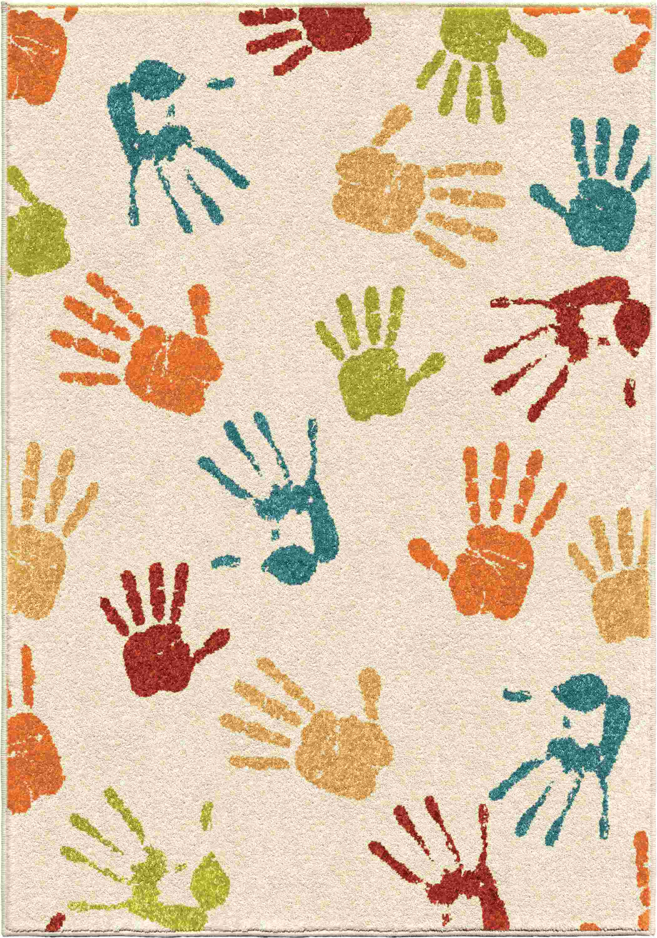 Orian Rugs Kids  Handprints Ivory Area Rug