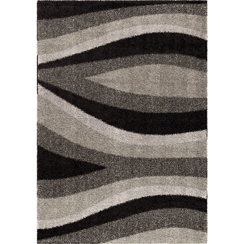 Orian Rugs Plush Waves Flume Black Area Rug 5'3 X 7'6