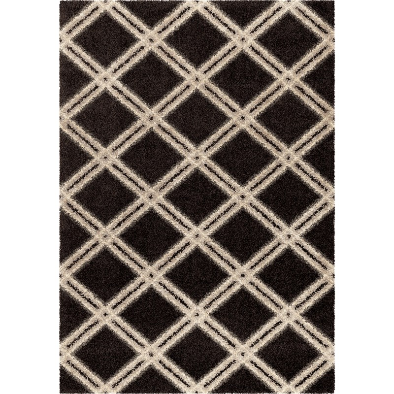 Orian Rugs Plush Diamonds Concentric Diamonds Black Area Rug 5'3 X 7'6