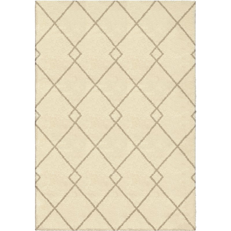 Orian Rugs Plush Criss-cross Crisscross Ivory Area Rug 7'10 X 10'10