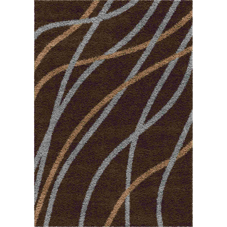 Orian Rugs Shag Stripes Liberty Brown Area Rug