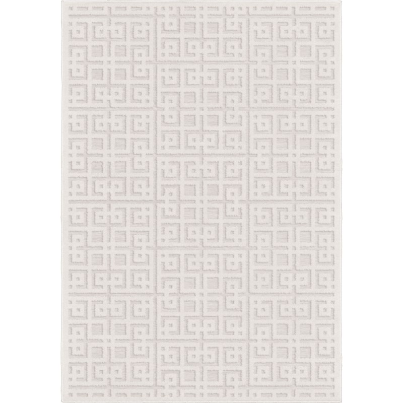 Intersected Geo Natural Machine Woven Area Rug