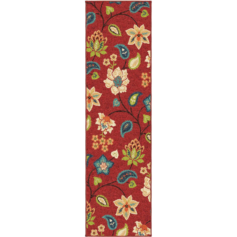 Orian Rugs Indoor/outdoor Floral Garden Chintz Red Runner