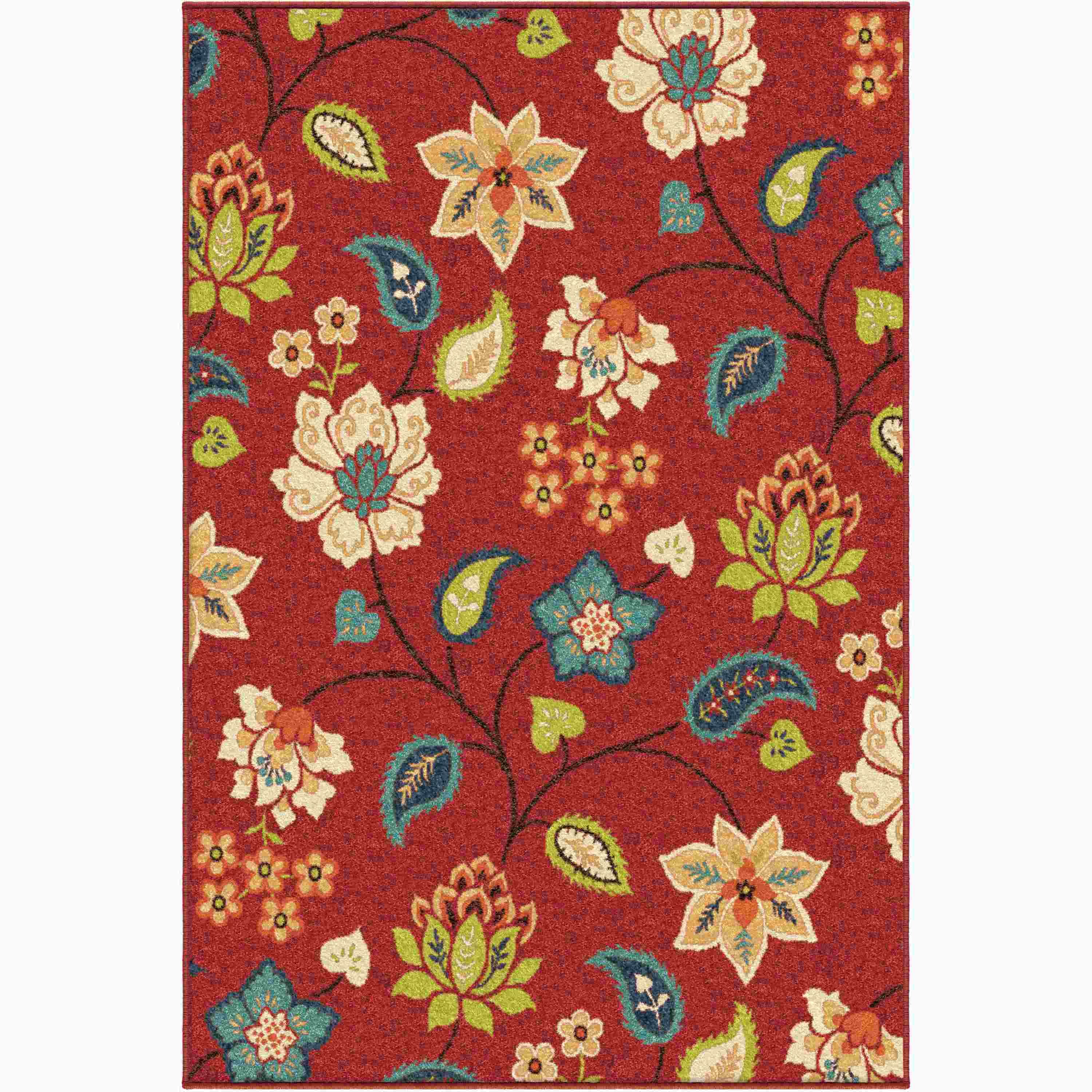 Orian Rugs Indoor/Outdoor Floral Garden Chintz Red Area Rug