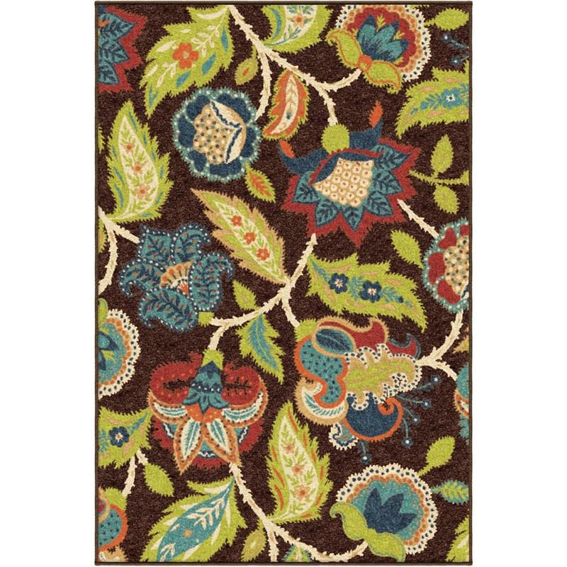 Orian Rugs Indoor/outdoor Floral Ethridge Brown Area Rug 6'5 X 9'8
