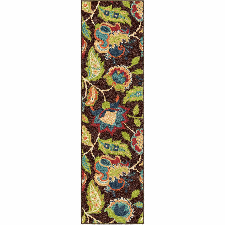Orian Rugs Indoor/outdoor Floral Ethridge Brown Runner