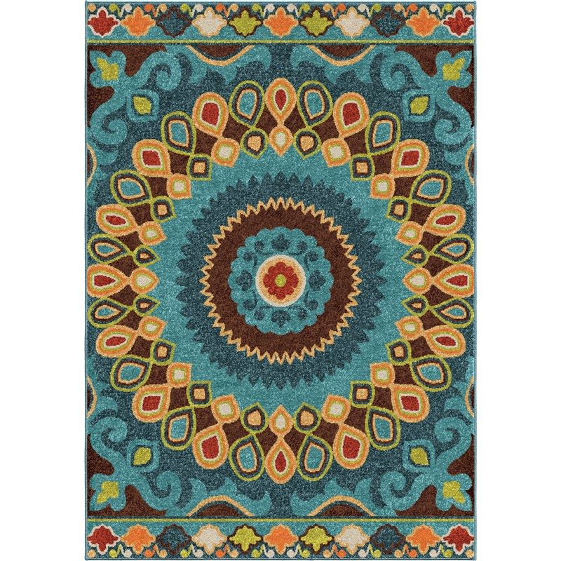 Orian Rugs Indoor/outdoor Shapes Indo-china Multi Area Rug 7'8 X 10'10