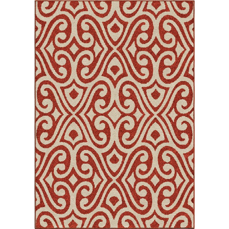 Orian Rugs Indoor/outdoor Damask Scroll Santee Red Area Rug 7'8 X 10'10