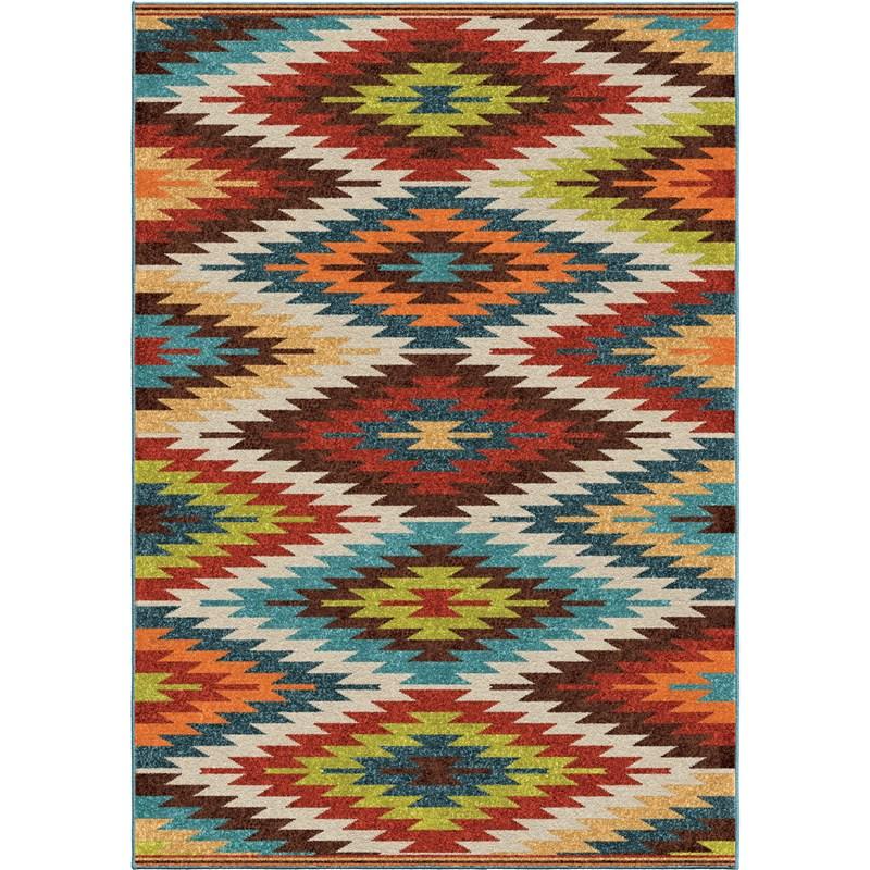Orian Rugs Indoor/outdoor Aztec Sedona Multi Area Rug 5'2 X 7'6