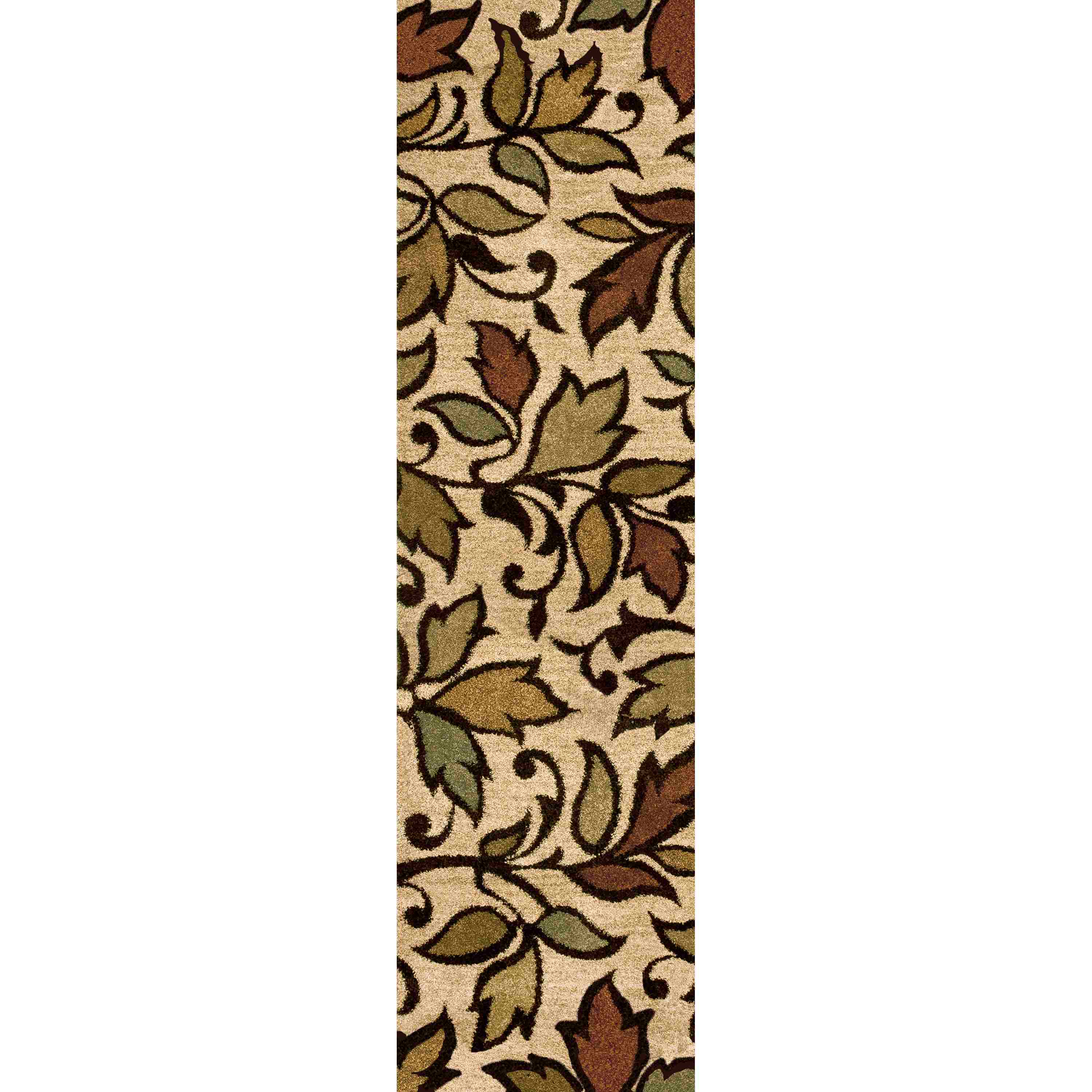 Orian Rugs Plush Leaves Getty Bisque Runner