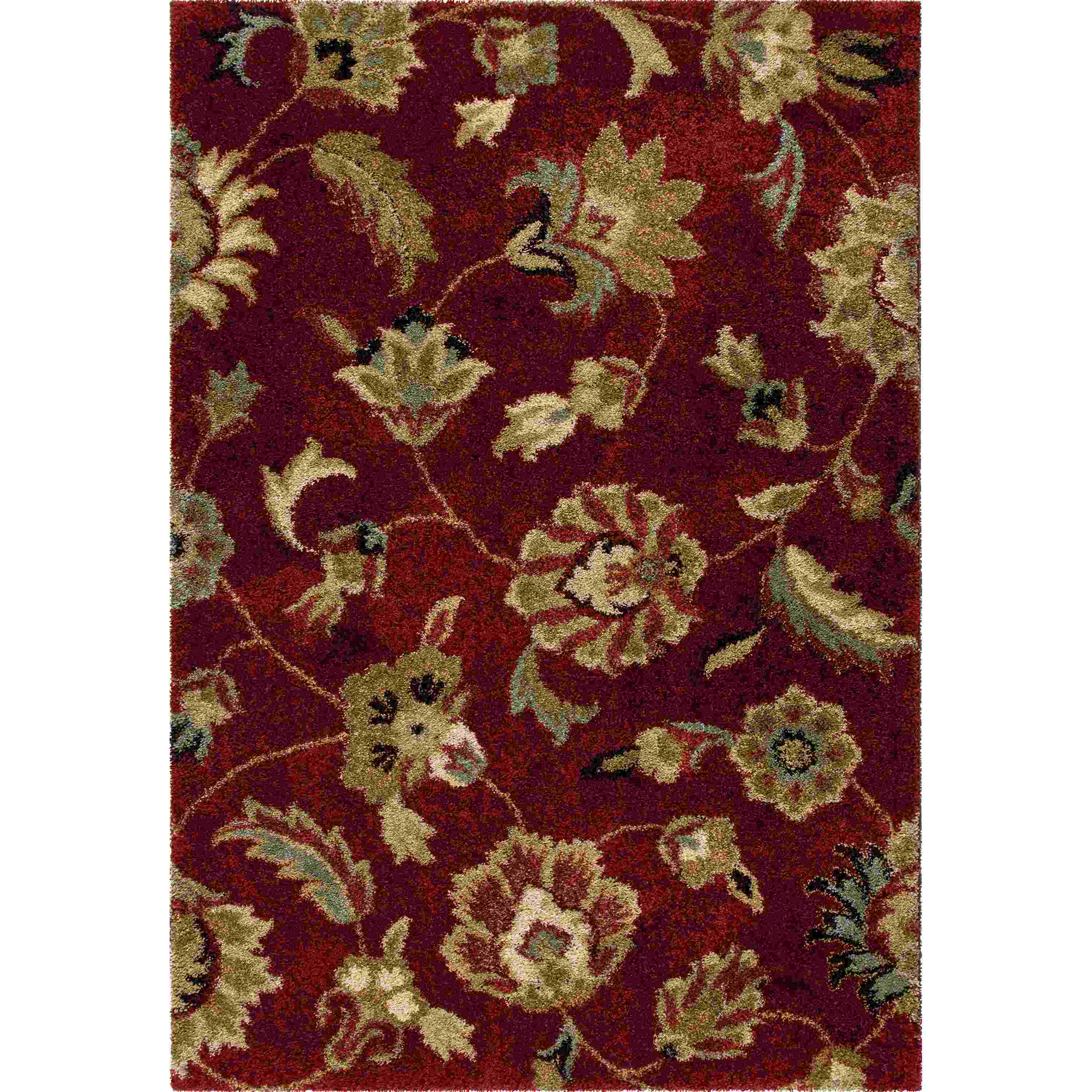 Orian Rugs Plush Floral London Rouge Area Rug