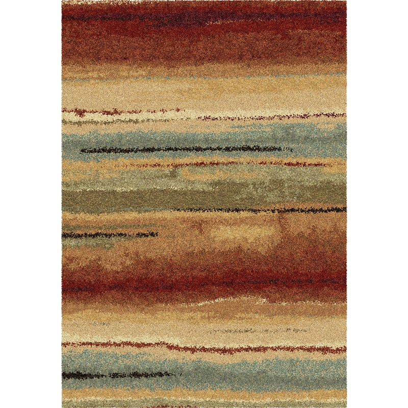 Orian Rugs Plush Stripes Dusk To Dawn Multi Area Rug 6'7 X 9'8
