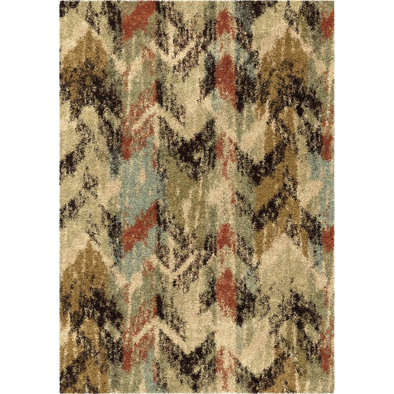Orian Rugs Plush Blended Lines Distressed Chevron Multi Area Rug 5'3 X 7'6