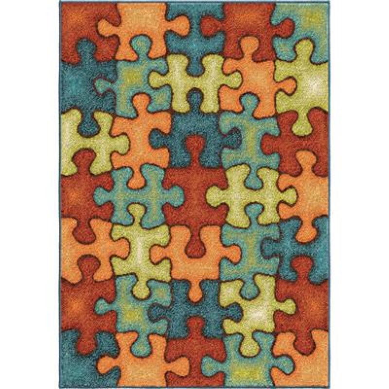 Orian Rugs Kids  I'm Puzzled Rainbow Area Rug