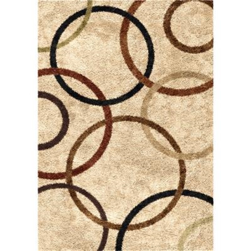 Orian Rugs Shag Circles Circle Design Bisque Area Rug