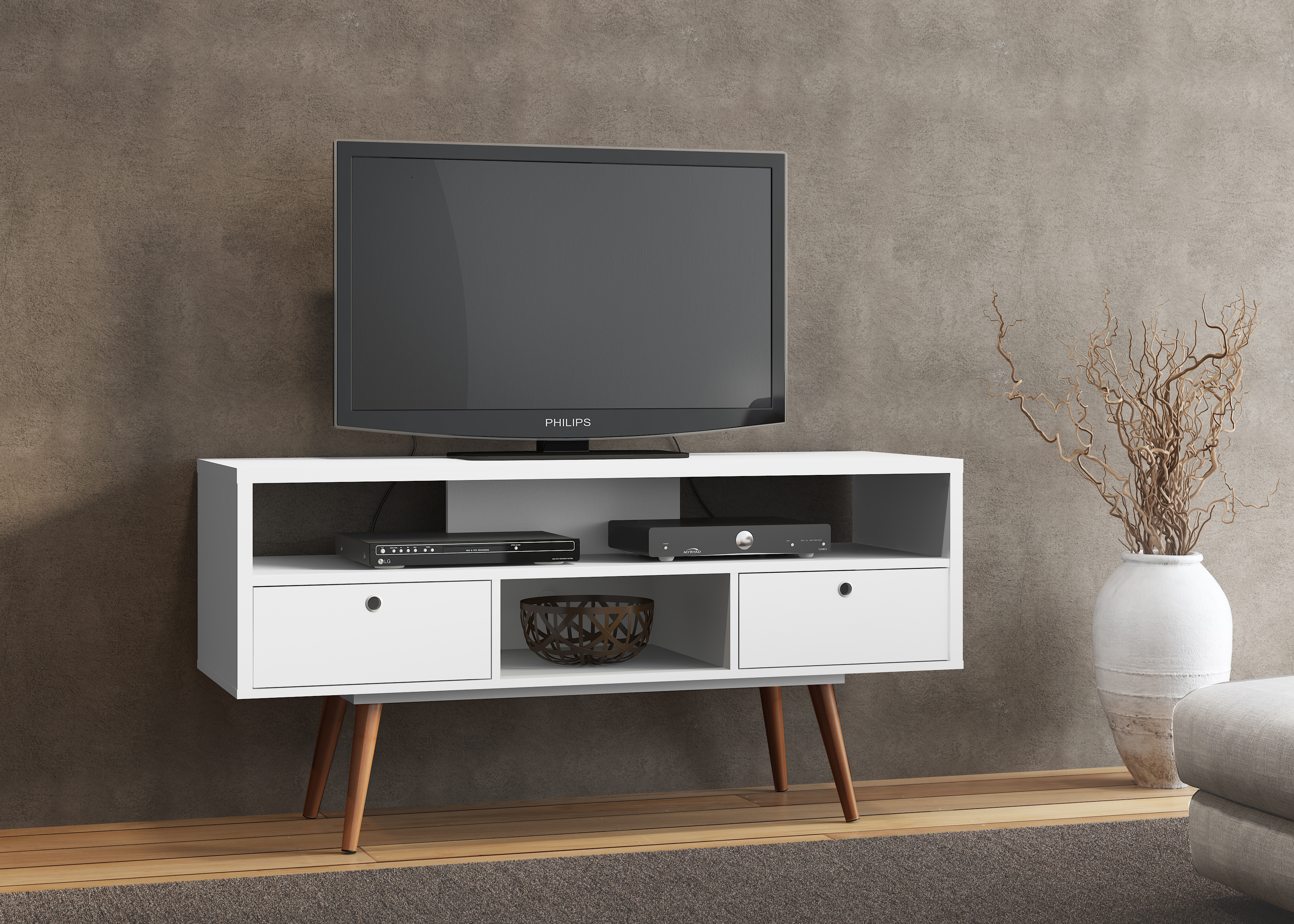 23103 Jessie Tv Stand White Satin