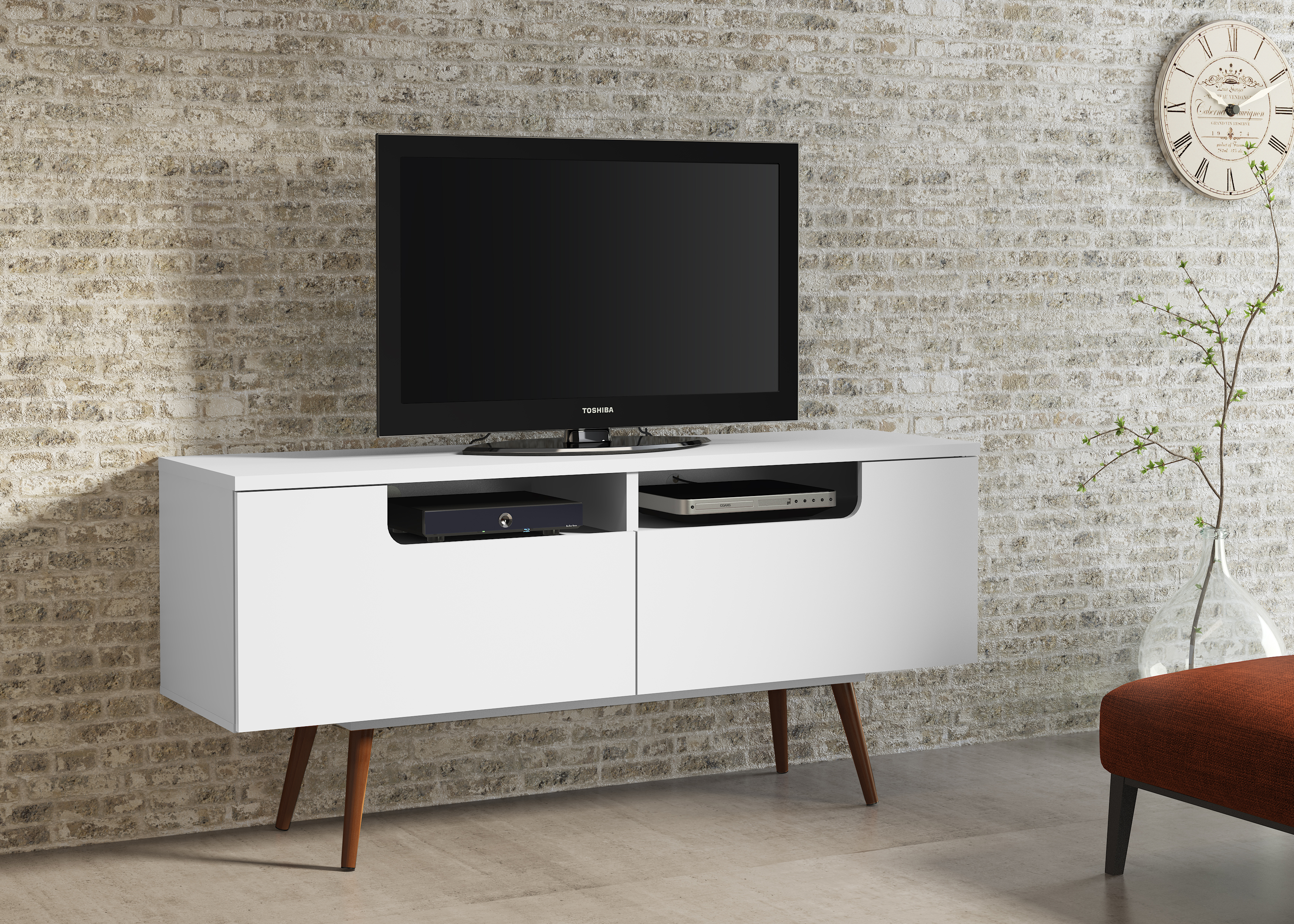 23104 Jensen Tv Stand White Satin
