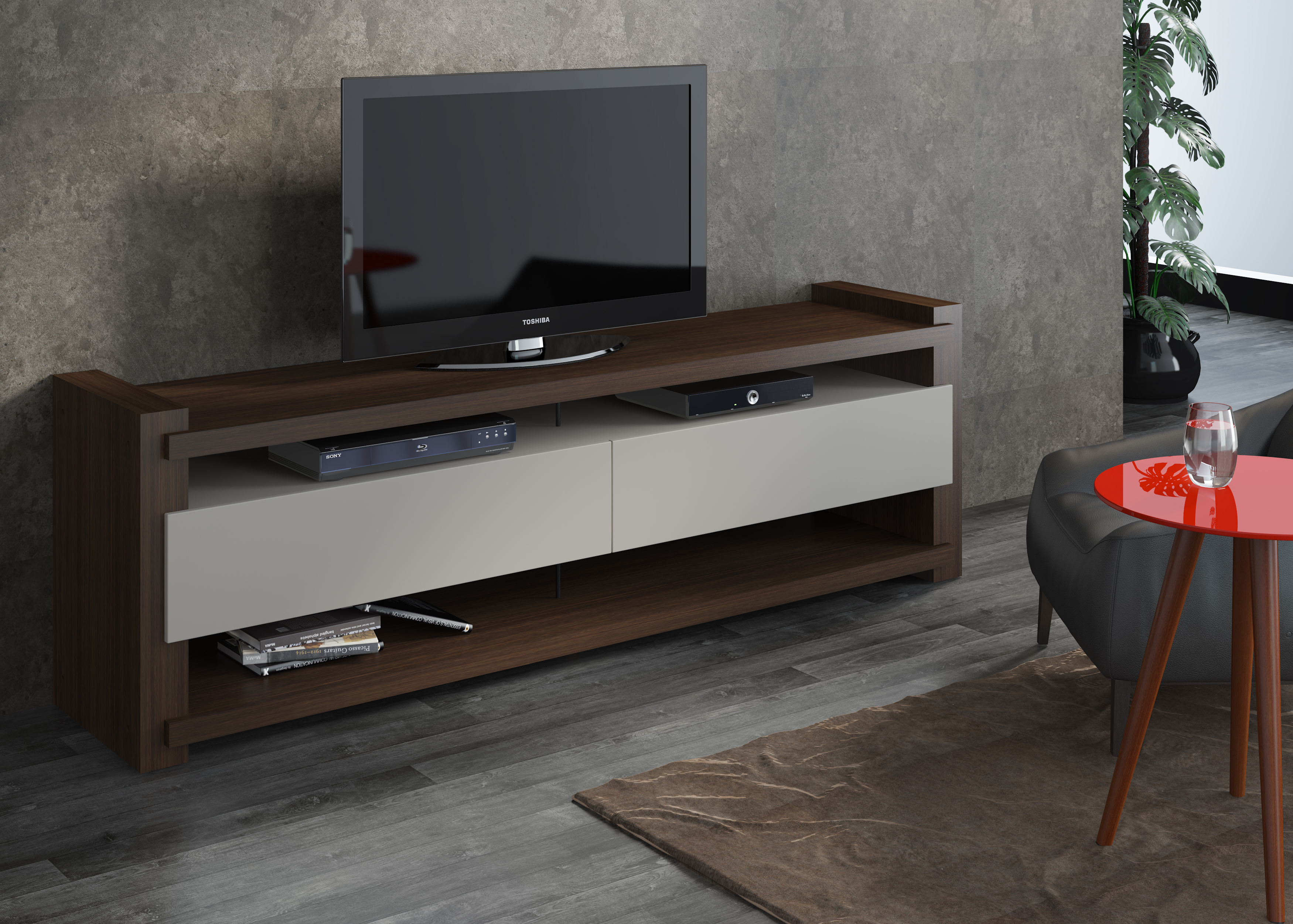 27011 Noblesse Tv Cabinet Wenge/off White