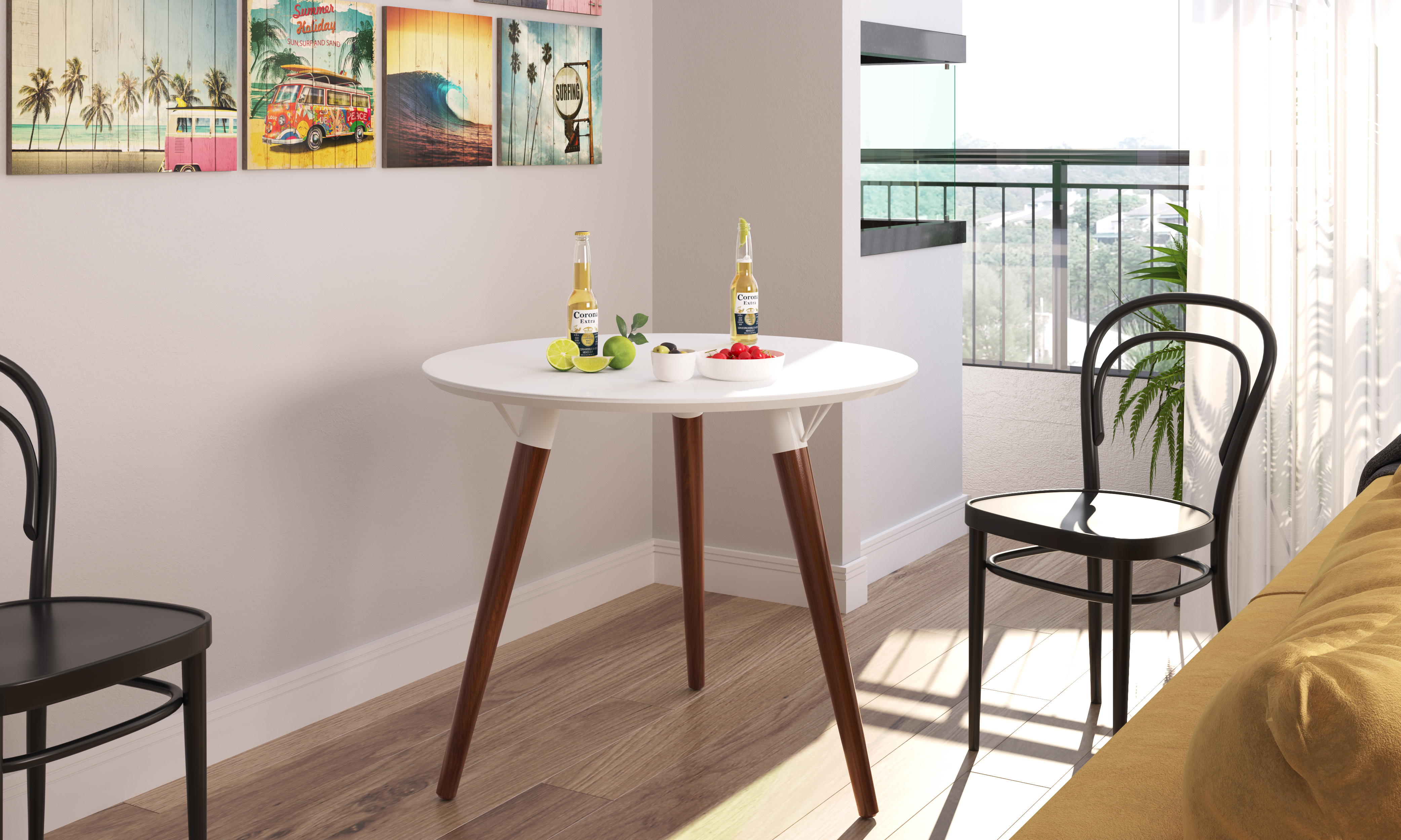 23071 Luna Round Table White Satin